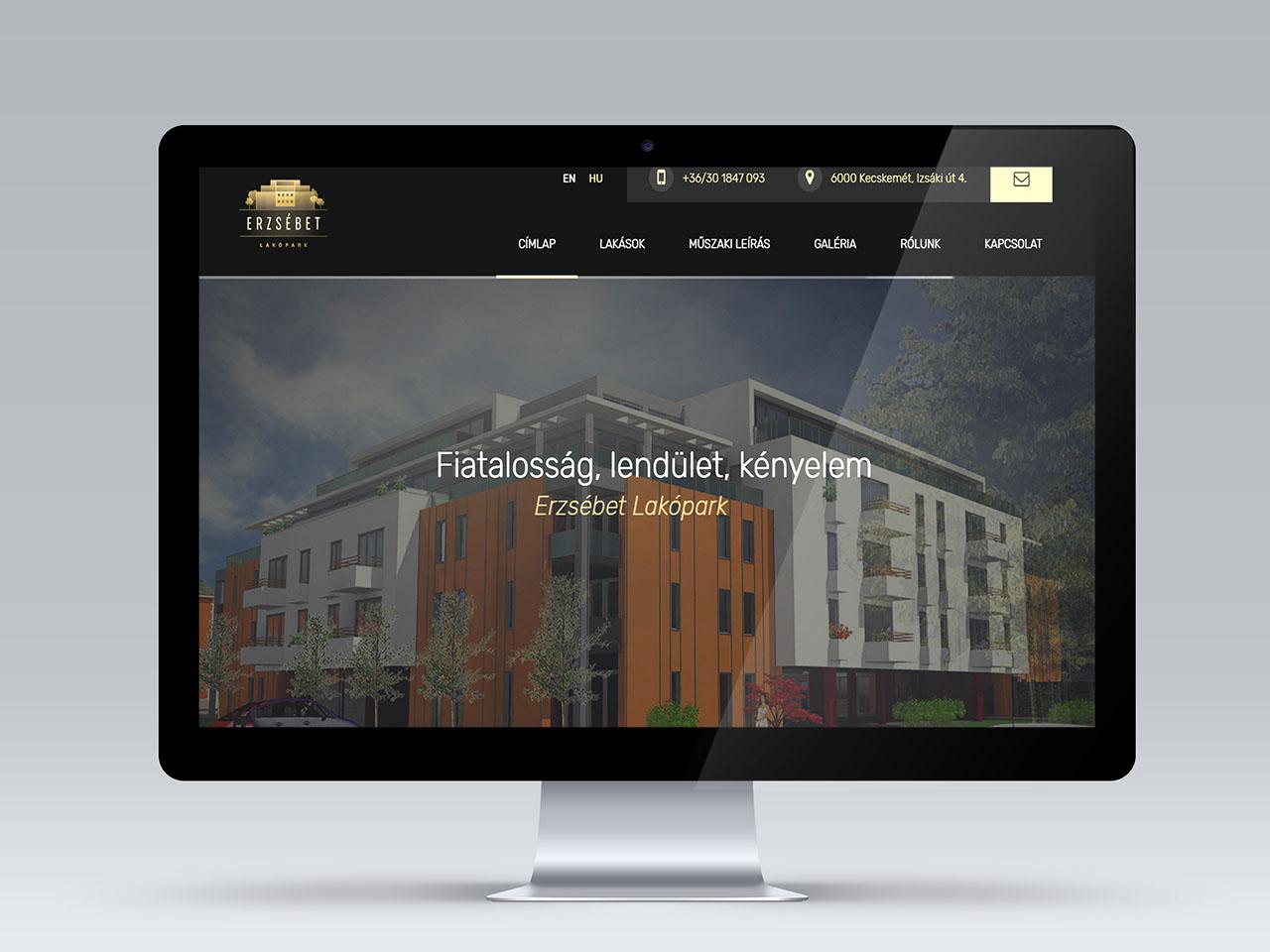 Erzsébet Lakópark weblap készítés