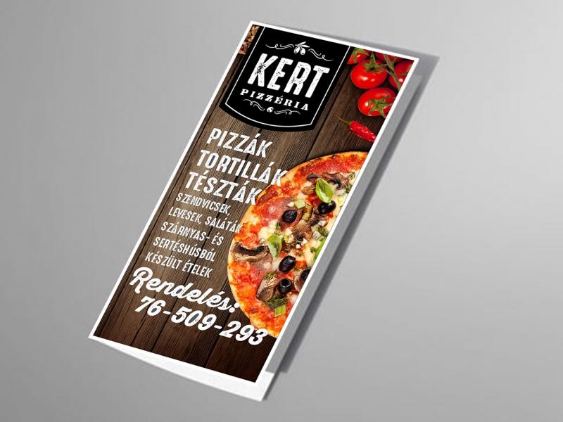 Kert Pizzeria étlap szóróanyag terve